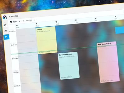 Calendar for the chat app UI glass glassmorphism event calendar chat calendar cards card ui component product design design ux