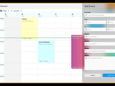 Voilaa! A new material! glassmorphism freebie event calendar events calendar cards card component ui product design design ux