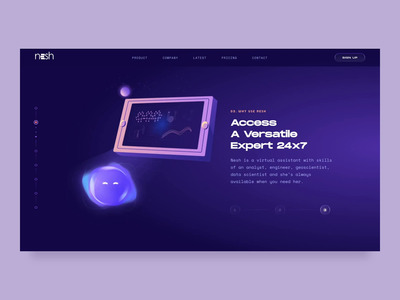 Nesh - The Smart Assistant // Why Use Nesh interaction transition nesh gradient web website webdesign future emotion character bot assistant 3d ui branding animations animation