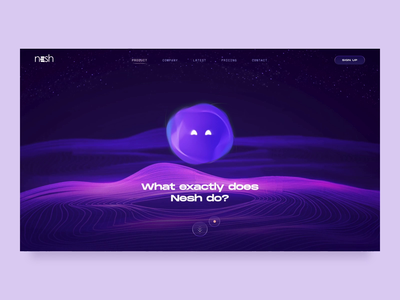Nesh - The Smart Assistant // Product Page Animation smart retro transition oil services illustraion website web nesh future emotion character bot assistant 3d branding animations animation