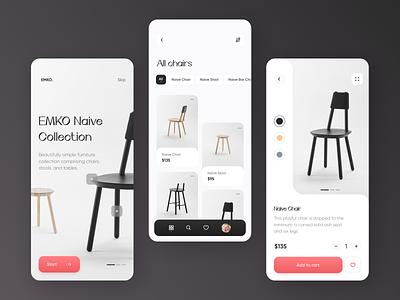 EMKO Furniture Design // App Concept craft product ecommerce shop app scandinavian typogaphy minimal design chair furniture application mobile design mobile ux ui