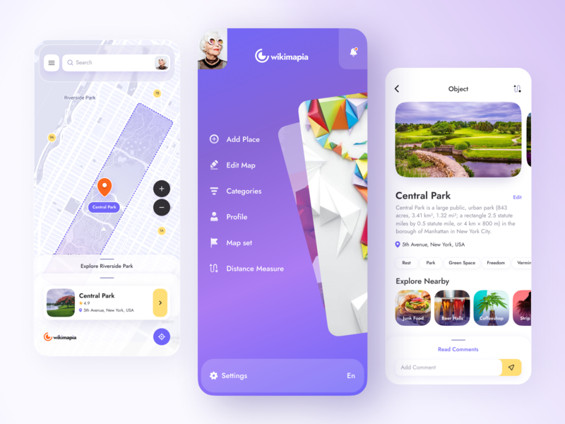 Wikimapia // Mobile App product design mobile ui walking travel minimal gradient application place route wikimapia map mobile design mobile app design app ui
