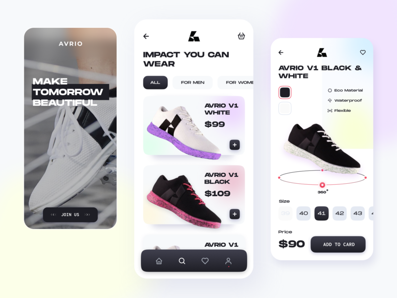 Avrio // App Shop ecommerce design ecommerce app ecommerce store app store brutalism product shoes sneakers sport cart shopping shop app design app mobile ui mobile ui mobile app