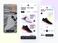 Avrio // App Shop ecommerce design ecommerce app ecommerce store app store brutalism product shoes sneakers sport cart shopping shop app design app mobile ui mobile ui mobile app
