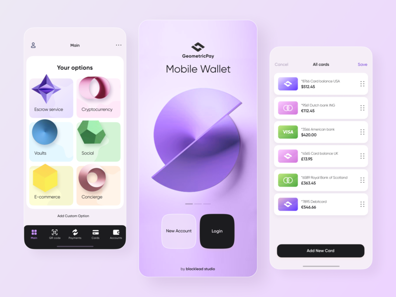 Geometric Pay // Mobile App fintech finance bank mobile app mobile creditcard card payment transaction product geometric gradient application app design wallet pay banking app banking app ui