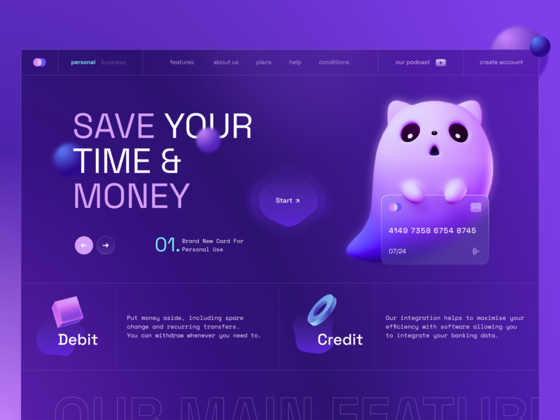 Banking  / Fintech Landing Page gradient ux design banking credit card payments marketing page marketing web design web product page main page landing page homepage fintech finance ui