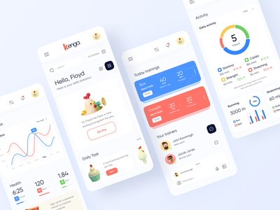 Kenga // Mobile App 🐥 smartcoach dashboard saas app workout fitness sport fintech design mobile design mobile ui mobile app application app design mobile app