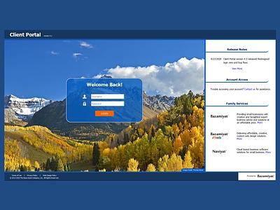 Login View - Client Portal version 4.1 designinspiration webapplication webapp design webapps webapp uiux ux design uxdesign ux bazamiyat user interface design user interface ui web  design webdesign design