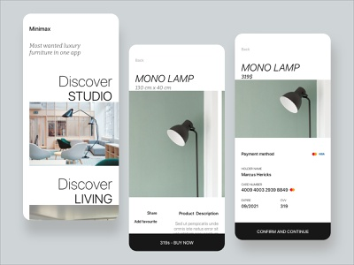 Furniture Shop - Rebound luxury product design sketch application design ux ui user inteface mobile ecommerce shop