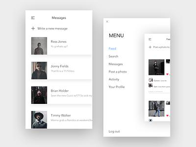 Social Media Image sharing white ux ui messages profile phone mobile minimal feed menu app