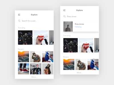 Social Media Image sharing photography search explore white ux ui profile mobile minimal feed app