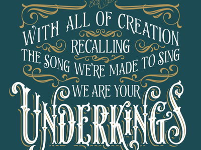 Underkings blue and gold design type victorian lettering