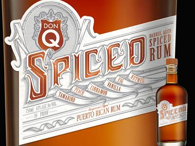 DonQ Spiced Rum CONCEPT White Alt packaging graphic design label vector hand-lettering design illustration type lettering