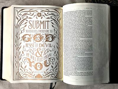 Illuminated Bible James illustration gold illuminated bible hand lettering