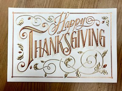 Happy Thanksgiving swash serif foil stamped leaves fall thanksgiving lettering hand lettering