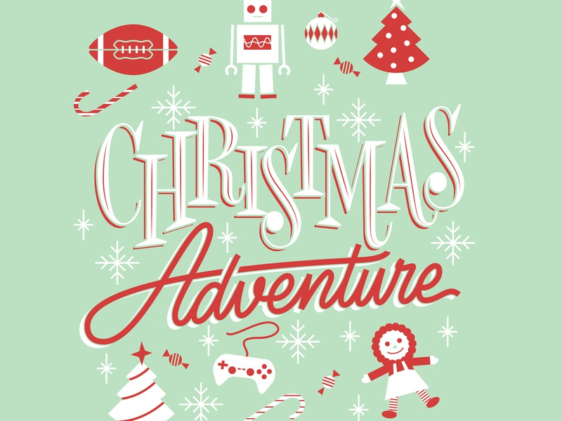 Christmas Adventure logo green script red illustration vector lettering snowflakes video games candy canes doll christmas trees robot football retro
