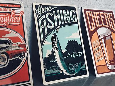 Hallmark Metal Tin Gone Fishing vector illustration lettering fish
