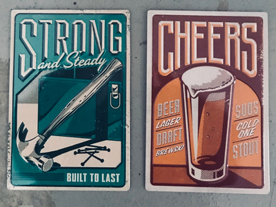 Hallmark Metal Tins Tools and Beer cards lettering illustration tin metal beer toolbox