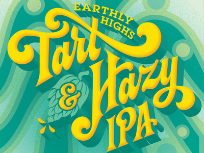 Earthly Highs Back Label hops psychedelic yellow green hand-lettering lettering