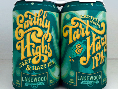 LBC EARTHLY HIGHS IPA design label can yellow green ipa craft beer packaging lettering