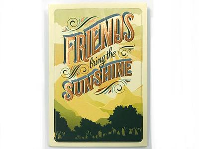 Hallmark Card Friends landscape illustration hand lettering lettering