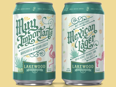 Lakewood Brewing Muy Importante blackletter salt agave flamingo handlettering lettering illustraion beer can beer