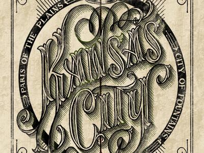 Kansas City, MO serif black arrow crown corn lettering hand-lettering