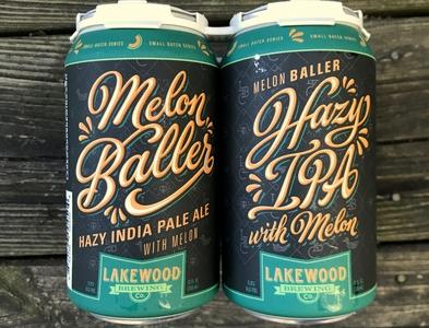 LAKEWOOD BREWING MELON BALLER beer can beer hazy ipa melon teal orange hand-lettering vector design type lettering