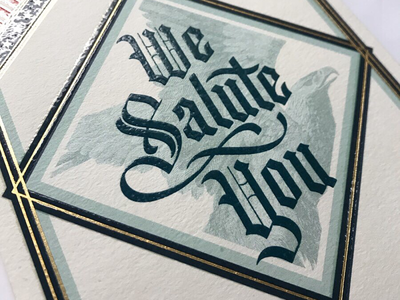 Hallmark Veterans Day Card eagle foil design lettering black letter