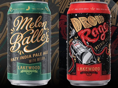 Lakewood Small Batch Series 2 script green red black melon droid beer can