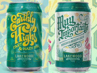 Lakewood Small Batch Series 1 margarita beer can flamingo graphic design blackletter 60s