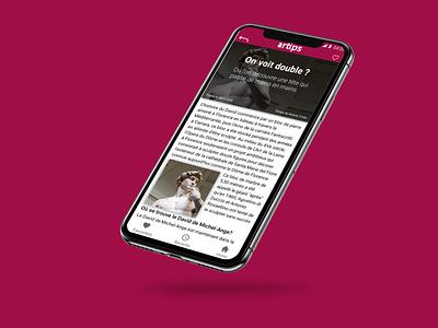 Artips tips page Mockup app ux ui typography mockup minimal 2d flat branding design