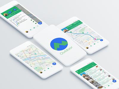 Google Outdoors Mockup logo mockup minimal app ux ui 2d branding flat design