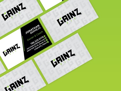 Gainz Fit Business Card logo design illustrator graphic design business card