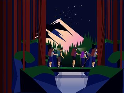 Night Walk concept drawing vector illustration design