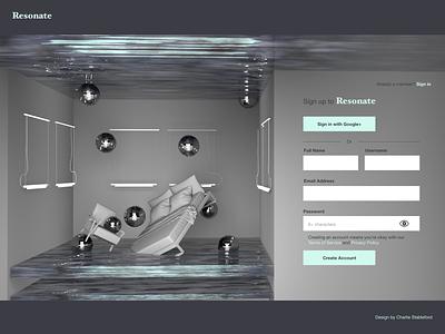 Resonate Log in page design concept branding xd concept creative uidesign discoballs disco water signin ui resonate c4d