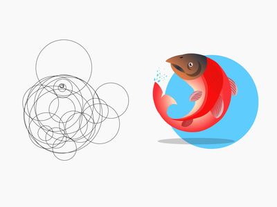 Circular salmon design vector illustration