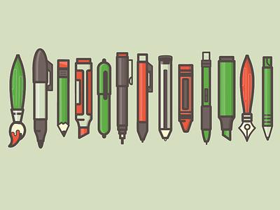 My Tools brush paint brush marker sharpie pencil mechanical crayon highlighter
