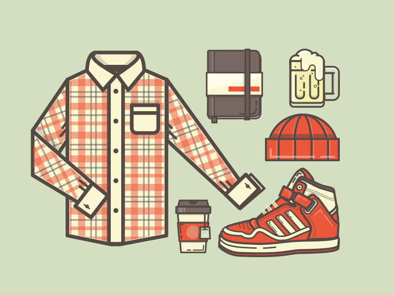 Ready for fall? illustration icon shirt plaid notebook moleskin beer hat  tuque tea sneaker shoe high tops