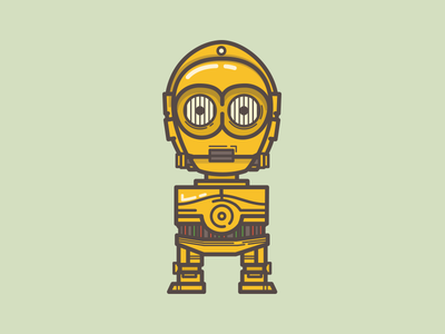 C3PO illustration icon starwars robot c3po