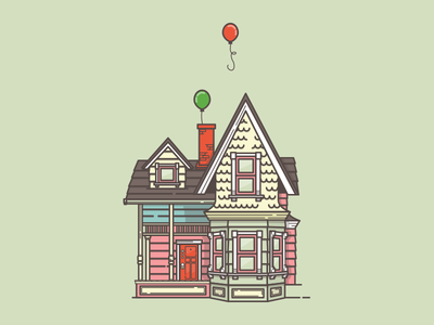 We're on our way, Ellie. illustration house balloon pixar up