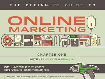 Beginners Guide to Online Marketing illustration title marketing guide doughnut beer coffee floppy disk moleskin
