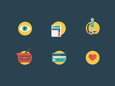 Flat icons illustration icon views eye calculator research microscope cart visa