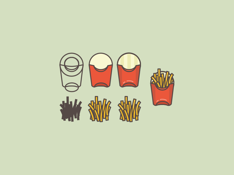 Fries Process illustration icon food fries macdonalds process