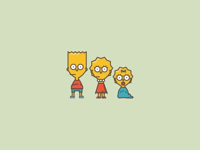 Coupla' kids illustration icon simpsons maggie bart lisa