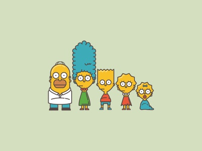 Whole fam illustration icon simpsons family homer bart marge lisa maggie