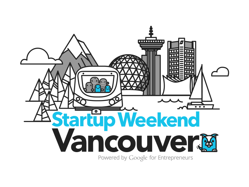 Startup Weekend Vancouver logo vancouver startup dog mountain identity trees boat mountains city