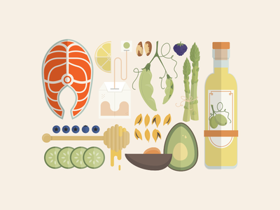 Aveeno Active Natural Ingredients illustration beauty ingredients fish lemon avocado honey cucumber olive oil blueberries asparagus brazil nuts