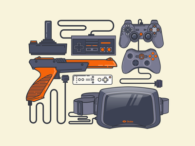 Game day illustration icon nintendo retro controller oculus xbox playstation nes zapper