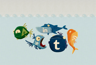 Social Media icons social media icons forrst linkedin tumblr twitter fish custon illustration